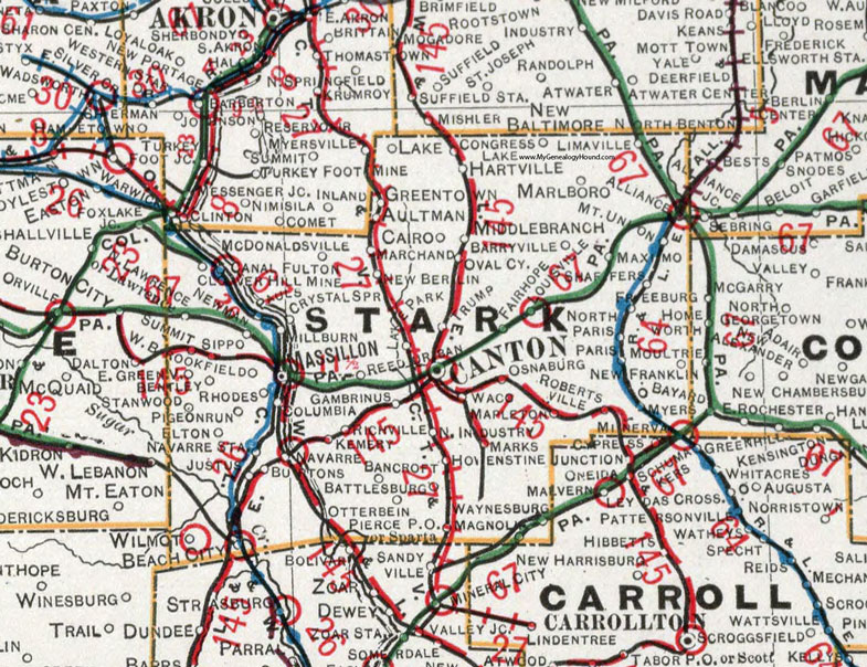 Stark County, Ohio 1901 Map, Canton, Millon, OH on