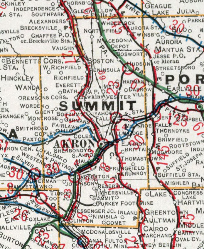 Summit County, Ohio 1901 Map, Akron, OH on
