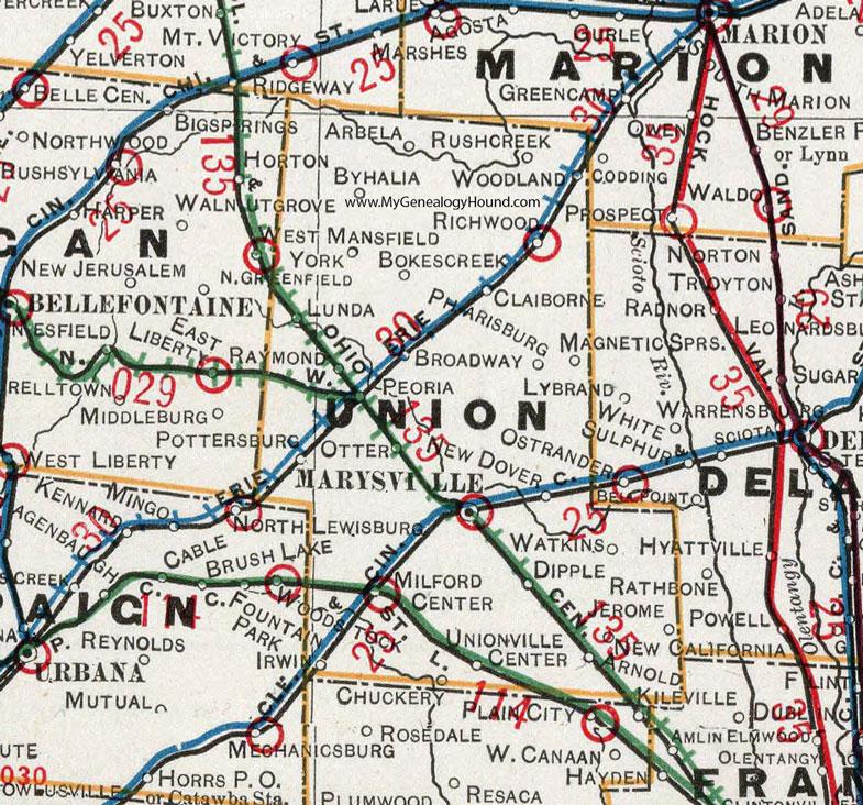 Union County Ohio 1901 Map Marysville Oh