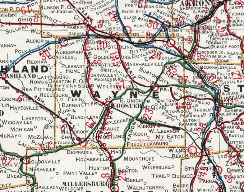 Wayne County Ohio Map Wayne County, Ohio 1901 Map, Wooster, OH
