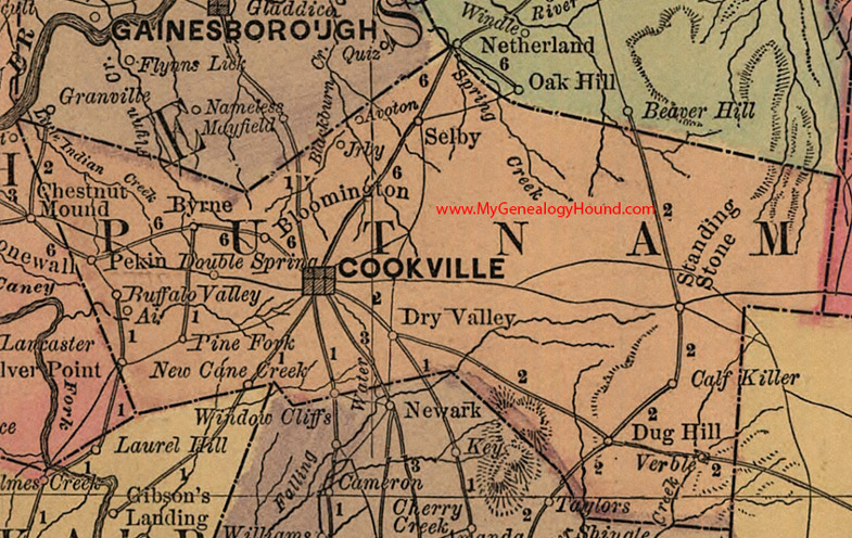 Putnam County, Tennessee 1888 Map on