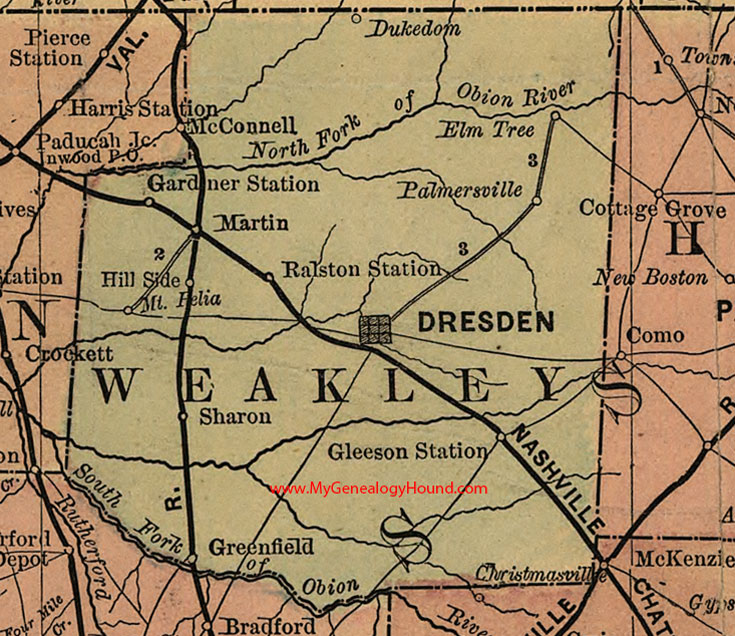Weakley County Tennessee 1888 Map