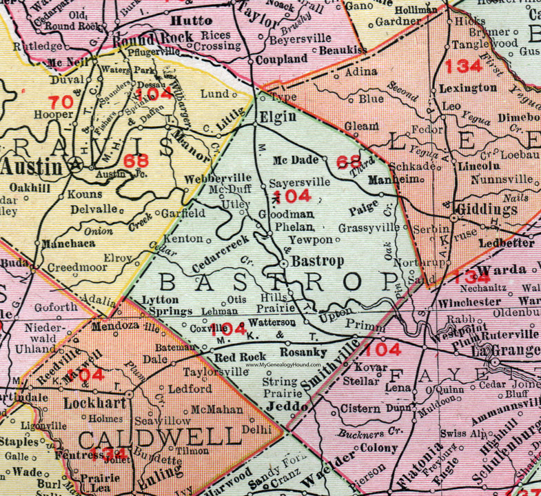 Map Of Bastrop Texas Bastrop County, Texas, 1911, Map, Rand McNally, City of Bastrop