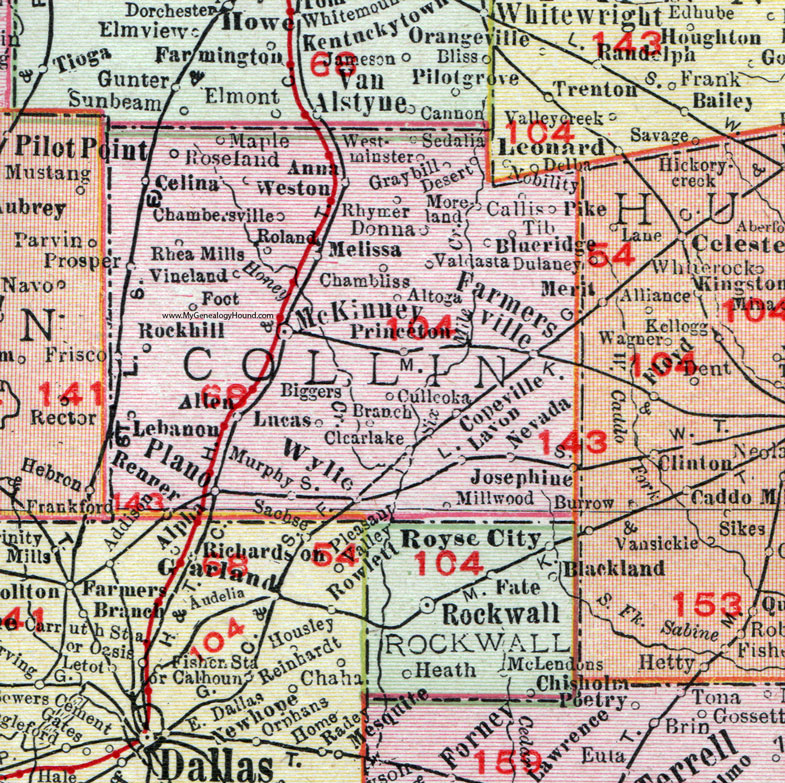 Map Of Collin County Collin County, Texas, 1911, Map, Rand McNally, McKinney, Plano