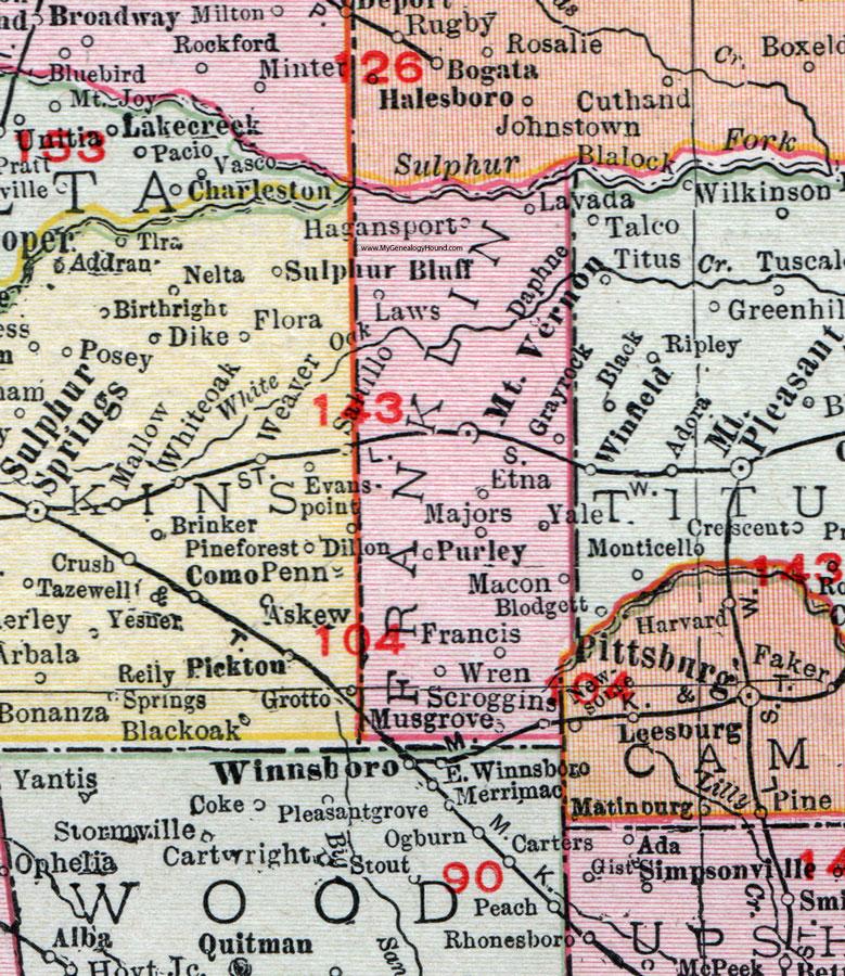 Franklin County Texas 1911 Map Rand Mcnally Mt Vernon