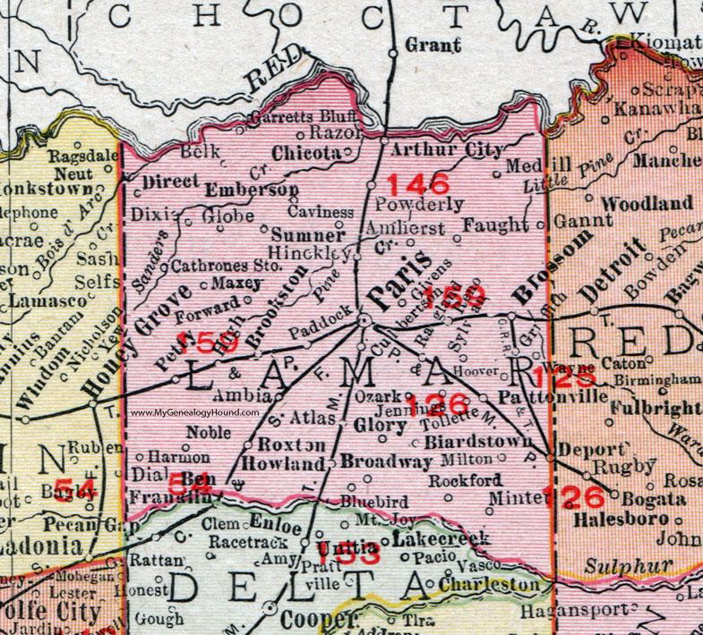 Lamar County Texas 1911 Map Rand Mcnally Paris Blossom