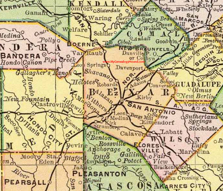Map Of Texas With Counties.Bexar County Texas 1897 Map