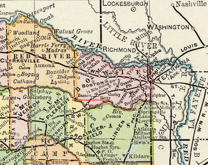Bowie County Texas Map Bowie County, Texas 1897 Map