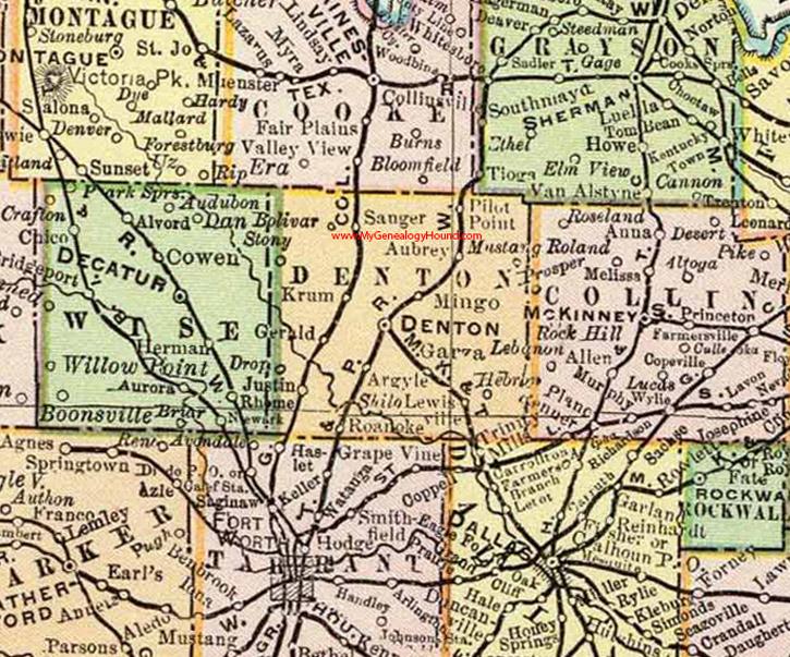 Denton County Map Denton County, Texas 1897 Map