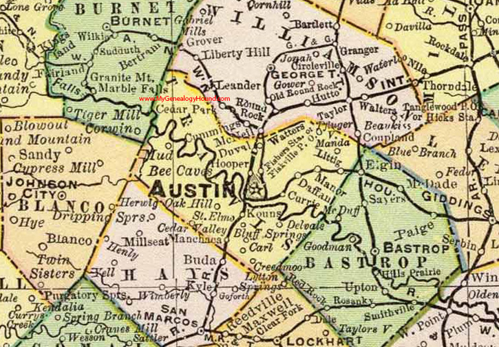 Map Of The Counties In Texas.Travis County Texas 1897 Map