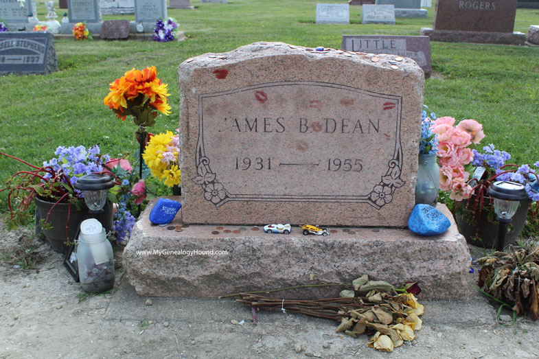 James Dean, Tombstone and Grave, Park Cemetery, Fairmount