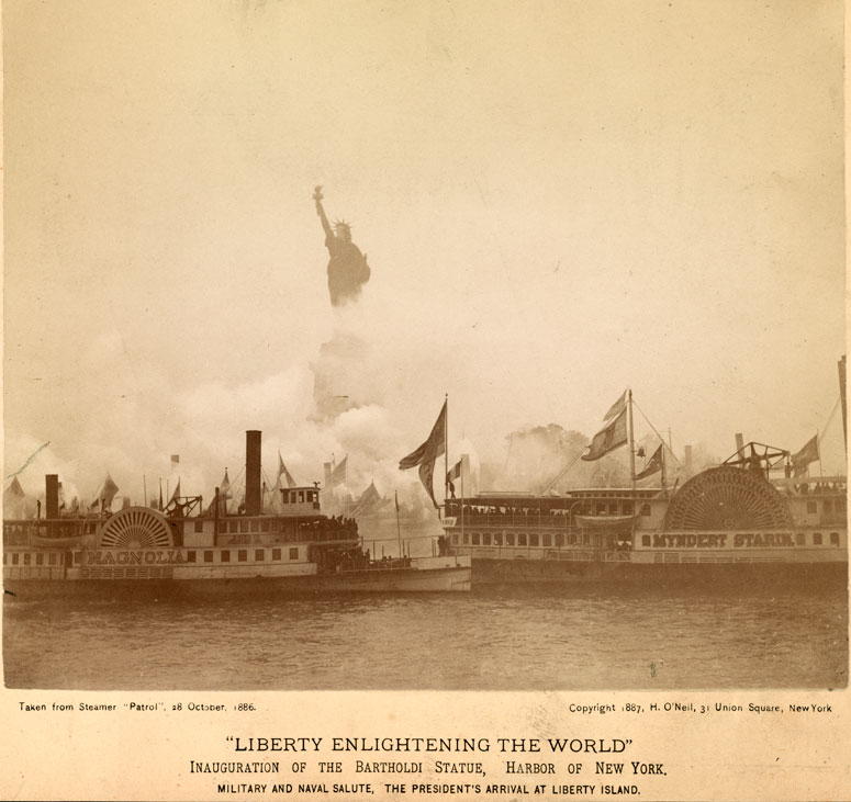 Image result for the statue of liberty was dedicated in new york harbor