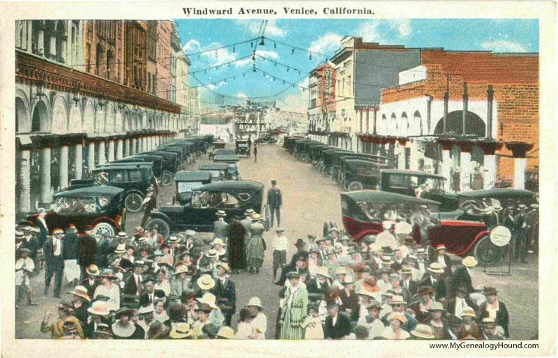 venice  california  windward avenue  vintage postcard
