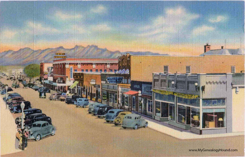 Famous Las Cruces, New Mexico, Main Street - Hotel Herndon, vintage  PB36